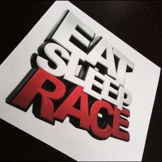 Eat Sleep Race Car Sticker