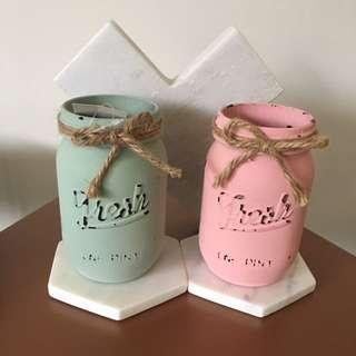 Coloured Mason Jars - Pair