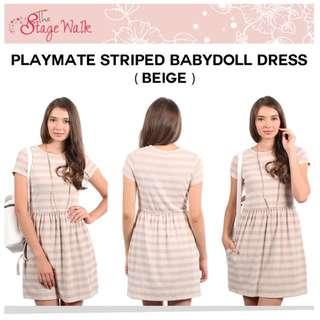 BNWT TSW The Stage Walk Striped Babydoll Dress In Beige Size: L