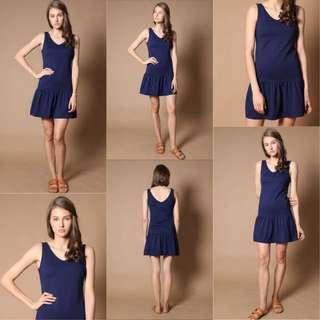 TSW Georgie Drop Waist Dress in Navy Size: XL