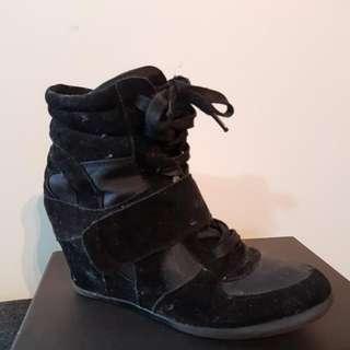 Sportsgirl Black Suede Wedge Sneakers