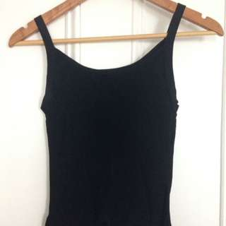 90s type singlet ribbed polyester mesh black