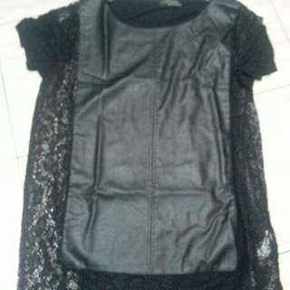 Zara Authentic Leather Lace Top