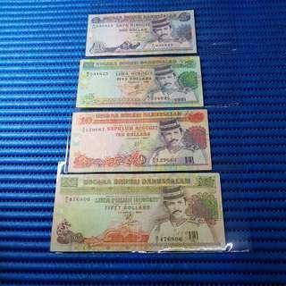 Negara Brunei Darussalam  $1, $5, $10 & $50 Note Satu Ringgit, Lima Ringgit, Sepuluh Ringgit & Lima Puluh Ringgit Banknote Currency