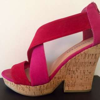 Hot Pink / Red Cork Wedges