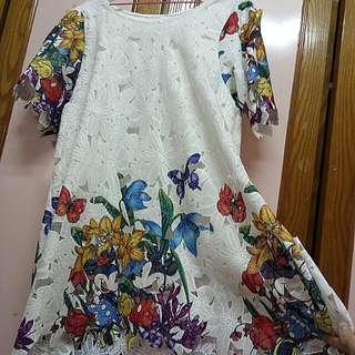 米奇米妮印花蕾絲洋裝