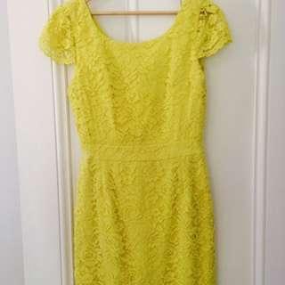 Lace Cocktail Dress-Lemon Yellow