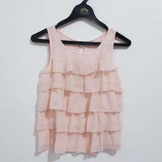 H&M pink frill shortsleeve