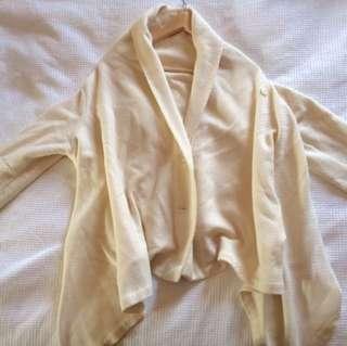 Asymmetrical (long Sides And Shortish Back) Cream Cardigan