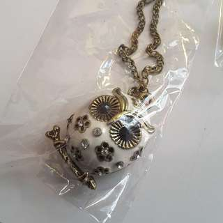 White owl steampunk necklace