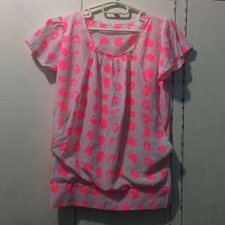 Neon Pink Leopard Print Blouse
