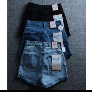 高腰牛仔短褲 淺藍M