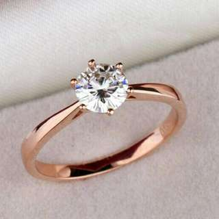 High quality elegant 1.2ct rose gold color large CZ Rhinestone rings  6 prong  bridal wedding Ring Women