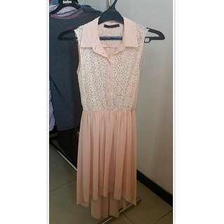 ASSYMETRIC PINK PASTEL LONG DRESS