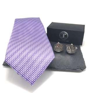 Purple Silk Tie & Watch Movement Cufflinks Combo