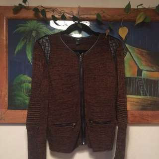 Gorgeous Knitted Cardigan W Faux Leather Details H&M