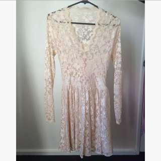 ASOS Long Sleeve Lace V Neck Dress
