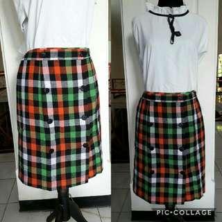 Green Grid Skirt
