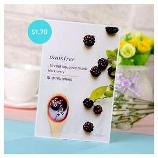 [6 PIECES] Innisfree Facial Mask - Black Berry