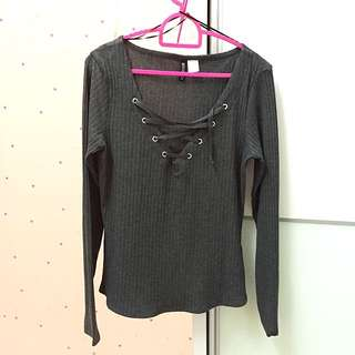 (BN) H&M Lace Up/Criss Cross Top