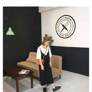 純色開衩連身裙(黑)