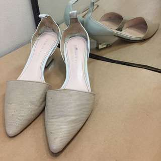 Charles And Keith nude white Low Heal Pumps