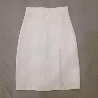 White Slit Midi Skirt (No brand, Size fit to M)