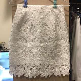正韓 轉賣tree 白色蕾絲裙s號