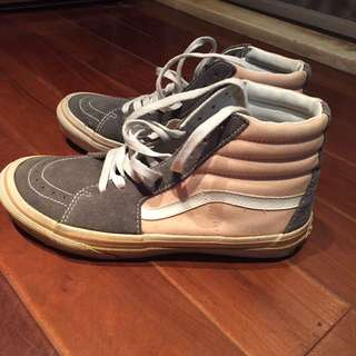 Vans 粉紅 灰 高筒 滑板鞋