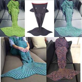 Soft Handcrafted Knitted Shark Tail Mermaid Blanket