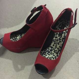 Red Open Toe Dollhouse Wedges