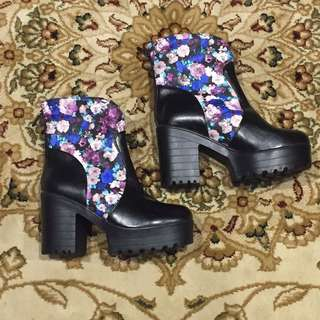 Floral Print High Cleated Boot