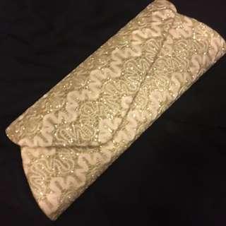 Brand New Golden Embroidery Dinner Sling Bag