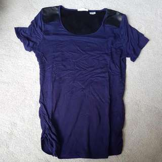 Navy Tee With Faux Leather Shoulders