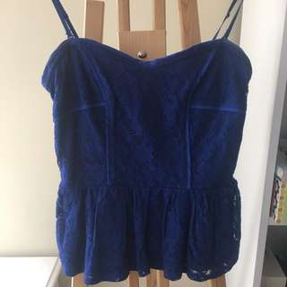 Cobalt Blue Lace Peplum Top (could be strapless or with straps)