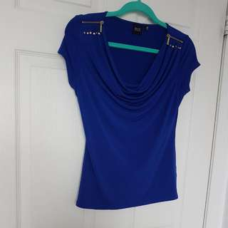 Saks Fifth Avenue Royal Blue Ruched Tee