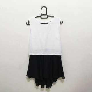 Black White Sleeveless Blouse Top