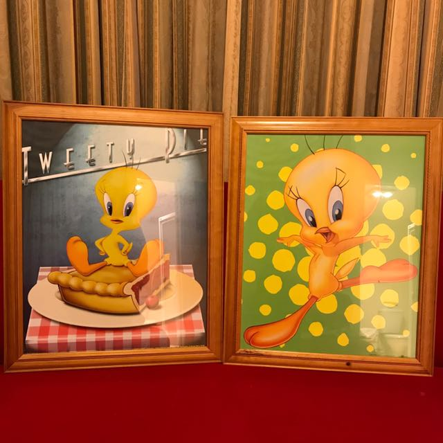 2 x Large Tweety Bird framed pictures