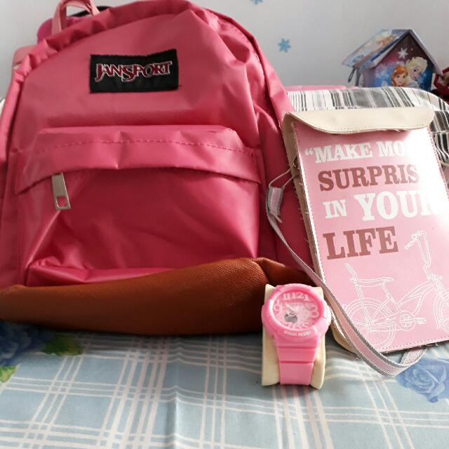 3 in 1 Pink Style Bag And WATCH  All Water Repellent Item (Tahan Cipratan Air)