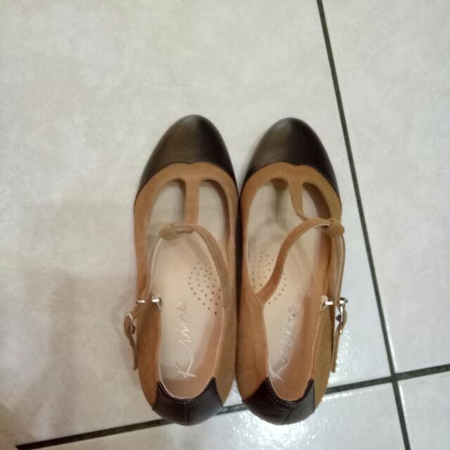 拼接雙色瑪莉珍優雅高跟鞋