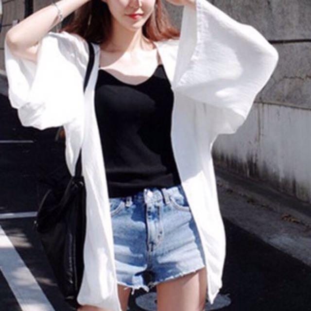 白色透膚雪紡罩衫