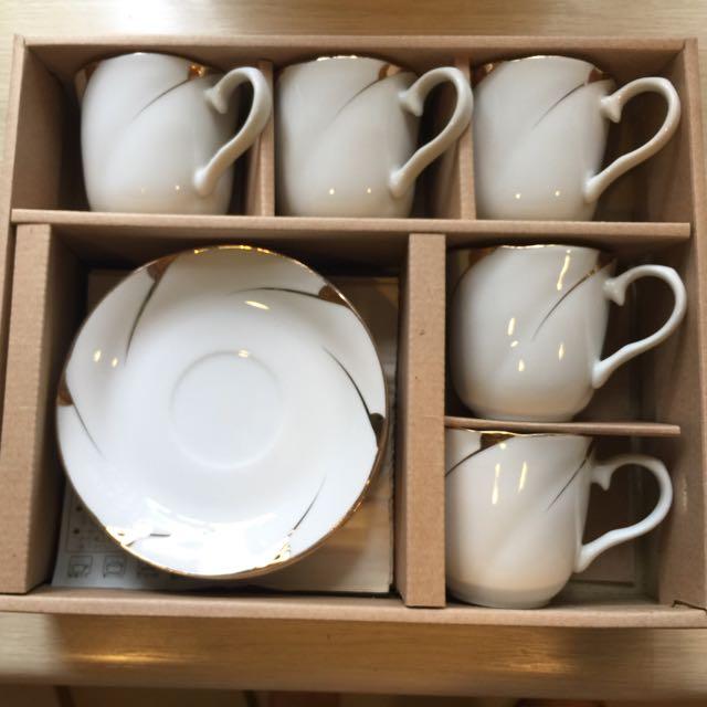 西式茶具杯盤組五入
