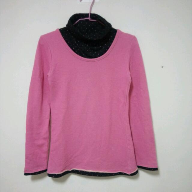 粉紅色高領假兩件