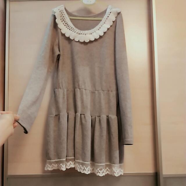 日系灰色針織蕾絲洋裝