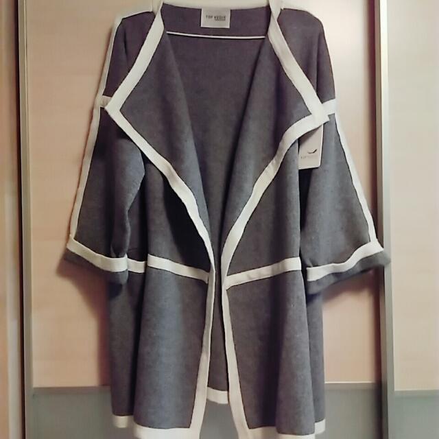 全新針織毛衣開襟落肩外套