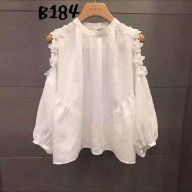 韓國花朵露肩泡泡袖襯衫上衣