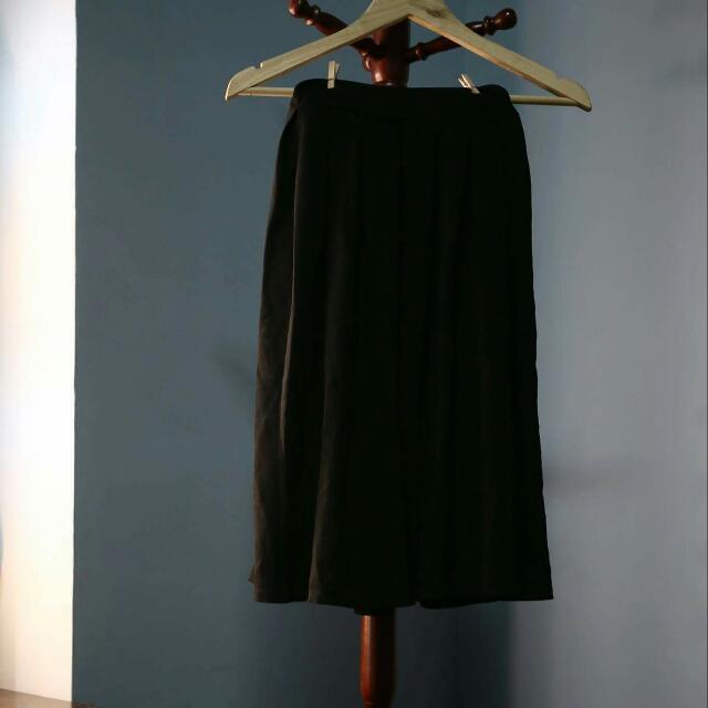 全黑雪紡及膝裙