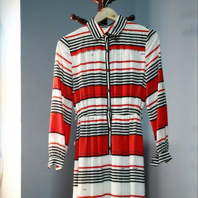 古著♥紅白條紋洋裝長裙
