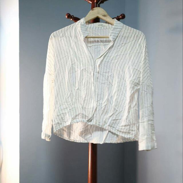 前短後長白條紋襯衫