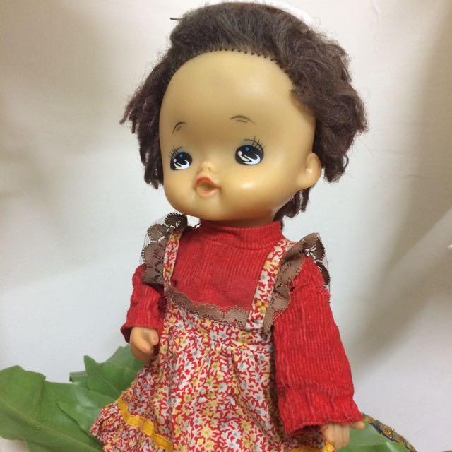 早期 復古 古董 [紅鞋 女娃 渡邊 洋娃娃 ] 褐 嘟嘴 吮指 吸手指娃